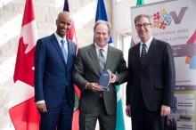 Minister Hussen, Carol Jolin (Welcoming Ottawa Ambassador) & Mayor Watson