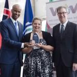 Minister Hussen, Jo-Annie Castonguay (Welcoming Ottawa Ambassador) & Mayor Watson