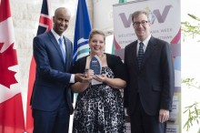 Minister Hussen, Jo-Annie Castonguay (Welcoming Ottawa Ambassador) & Mayor Watson